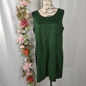 NWT VILA Faux Suede Shift Dress Ivy Green size L